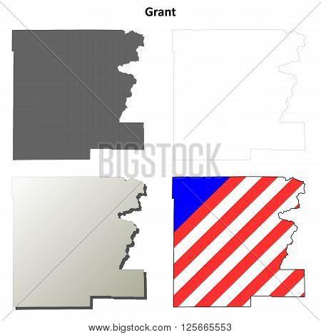 Grant County, Oregon blank outline map set poster