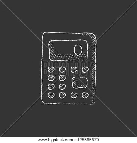 Calculator. Drawn in chalk icon.