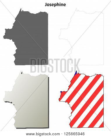 Josephine County, Oregon blank outline map set