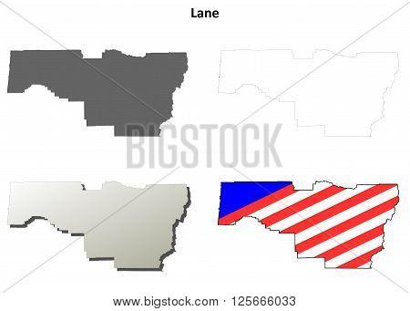 Lane County, Oregon blank outline map set poster