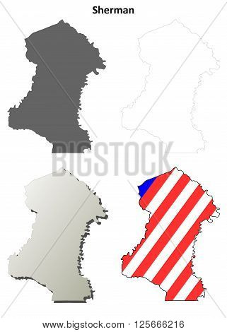 Sherman County, Oregon blank outline map set