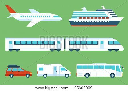 Vector set of travel transportation: airplane cruise liner train car camping car bus. Side view. Flat style.
