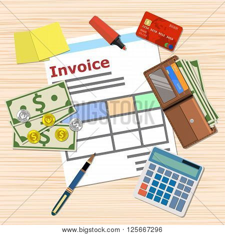 invoice invoicing payment design, Calculator, wallet with cash and coins, pen, credit card. top view, vector illustration in flat design on wooden table