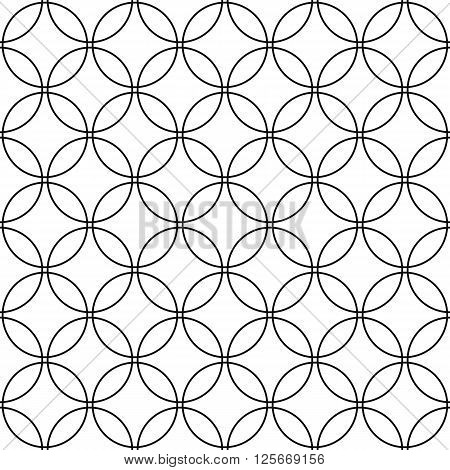 Repeat monochromatic vector circle pattern design background
