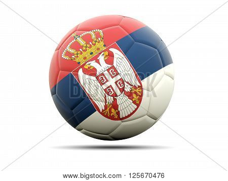 Football With Flag Of Serbia