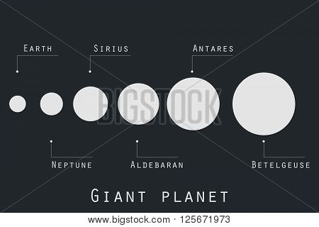 Giant Planet  In Original Style. Planets And Stars Of The Universe. Major Planets.