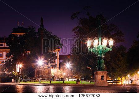 Night view of Hradcanske namesti square in Prague, Czech Republic.