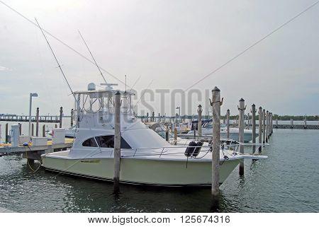 Fishing boat docked at a marina in north miami beach,florida