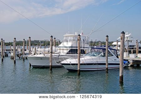 Fishing Boat and an upscale cabin cruiser docked eat a marina in north miami beach,florida.