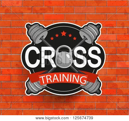 Retro styled crosstraining emblem, label, badg, logo and fitness gym designed elements for your projects, prints, cards, invitations. Sport illustration, Vector.