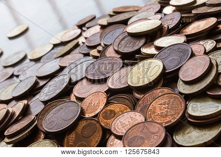Fund coins of one, two, five, ten and twenty cents stacked.