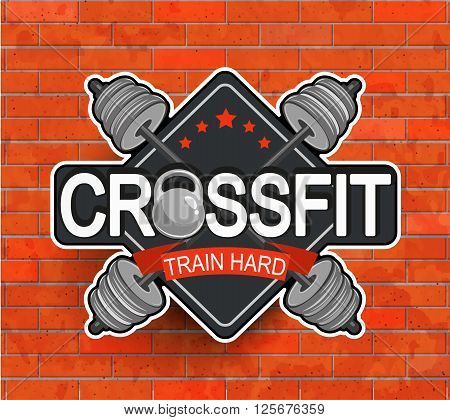 Retro styled crossfit emblem, label, badg, logo and fitness gym designed elements for your projects, prints, cards, invitations. Sport illustration, Vector.