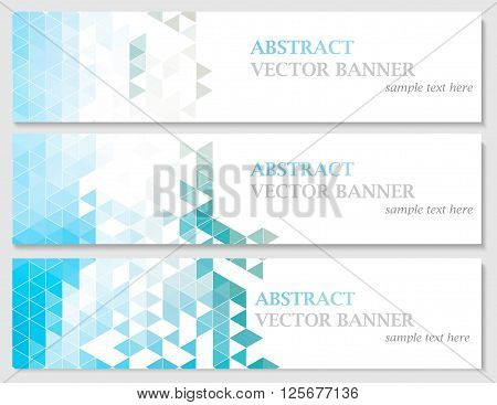 Vector banners with abstract multicolored polygonal mosaic background. Modern geometric triangular pattern. Business design template. EPS 10