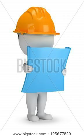 3d small person - builder with the plan in his hands. 3d image. White background.