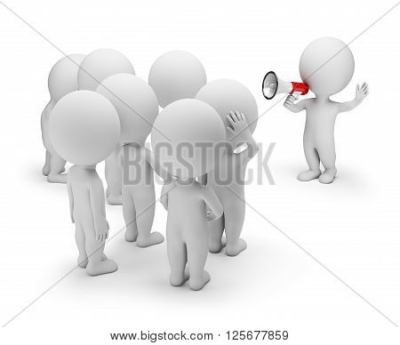 3d small person talking on a megaphone to the crowd. 3d image. White background.