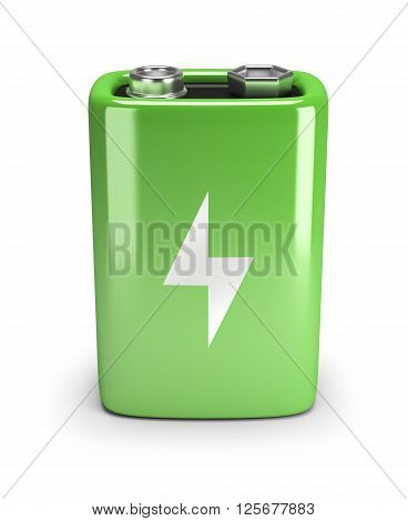 Green battery. 3d image. Isolated white background.