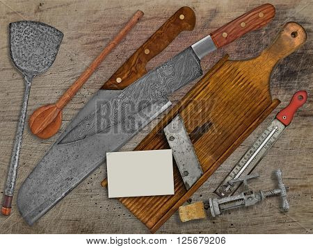 vintage set for cooking over wooden table space on business card for your text
