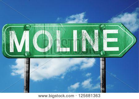 moline road sign on a blue sky background