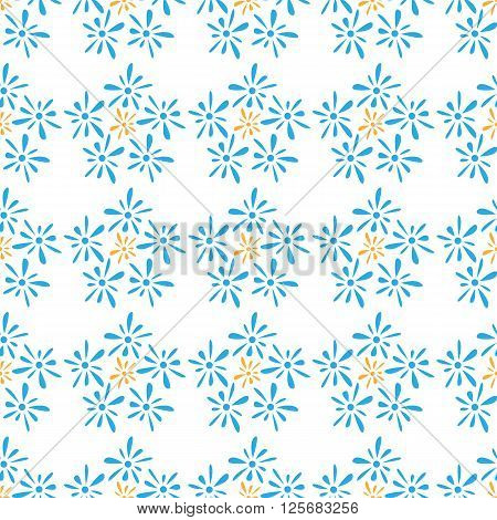 Seamless pattern of blue florets petals on white background