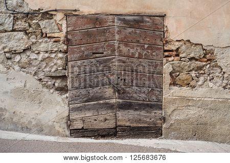 Old ruin wood stone window texture pattern
