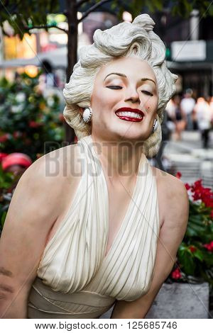 NEW YORK-AUGUST 7- Forever Marilyn a statue by Seward Johnson on display August 7 2015 in midtown Manhattan.