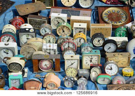 Kiev, Ukraine, April 10, 2016. Swap meet, collection of old alarm clocks