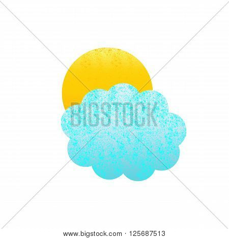 Shabby blue colored cloud and yellow sun isolated on white background. Logo template design element