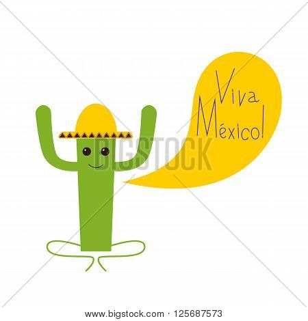 Viva Mexico greeting card with happy cactus character in yellow sombrero and lettering Viva Mexico isolated on white background