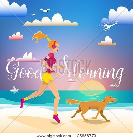 Girl running on the beach with dog. Lettering Good Morning. Sport and outdoor fitness card. poster