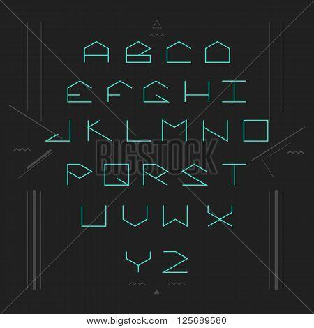 Cyber sans serif lineales geometric font. Monospaced font.