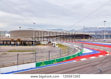 Sochi, Russia - February 5, 2016: Sochi Park. Adler-Arena and fragment race track of Formula One