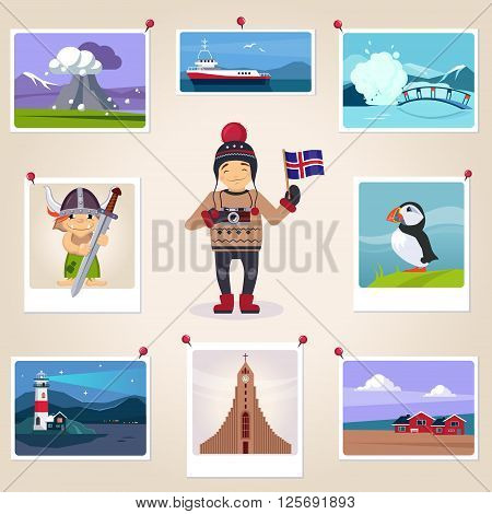 Iceldn Photographer Surrounded By Photos Cute flat Cartoon Style Vector Design Illustration