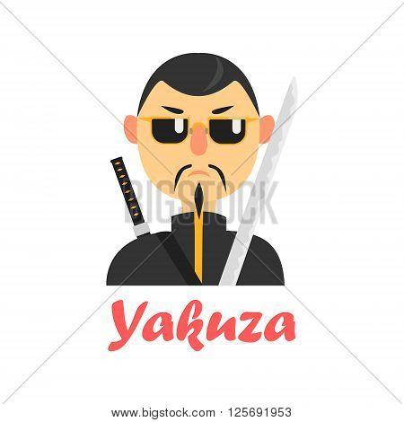 Japaneese Yakuza Cartoon Style Flat Vector Illustration On White Background With Text