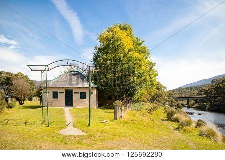 The historic buildings of Bullocks Hut in Lake Crackenback, New South Wales, Australia
