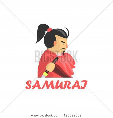 Samurai Cartoon Style Flat Vector Illustration On White Background With Text