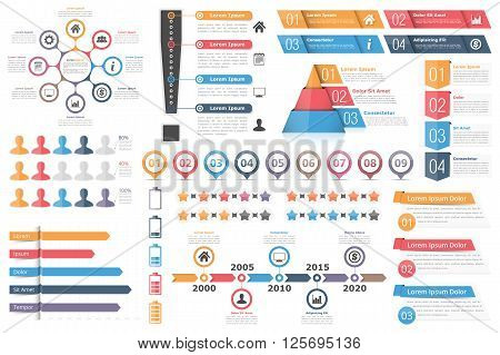Infographic elements set - circle diagram exclamation mark text boxes with numbers and icons pyramid chart bar graph timeline rating stars and other infographic objectsvector eps10 illustration