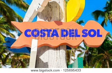 Costa del Sol signpost with palm trees