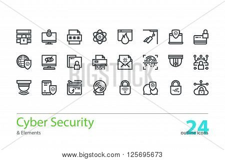 Cyber security, data protection. Set of outline colorless vector icons.