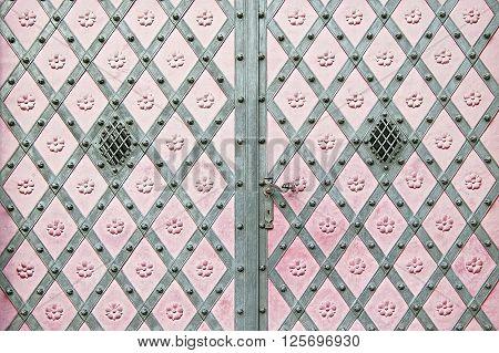 Old metal door background texture close up