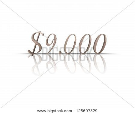 9000 $ 3d word with reflection !