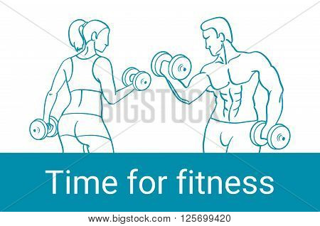 Fitness Couple And Fitness Club Concept With Strength Health And Beauty Symbols Flat Vector Illustra
