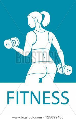 Fitness Club And Gym Banner Or Poster Design. Silhouette Of Athletic Woman With Dumbbells. Free Font