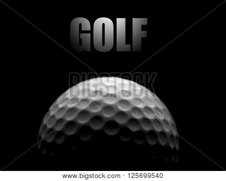 Golf ball closeup with GOLF text in black and white