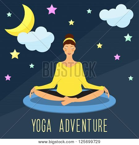 Yoga Adventure Theme. Trendy Flat Style.