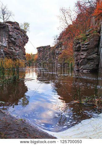 Huge stones of Ukrainian canyon, vibrant scene.