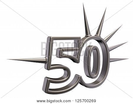 number fifty with prickles on white background - 3d illustration