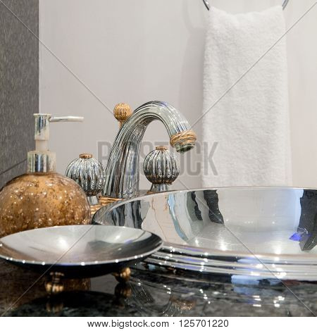 Silver Sink Inside Expensive Bathroom