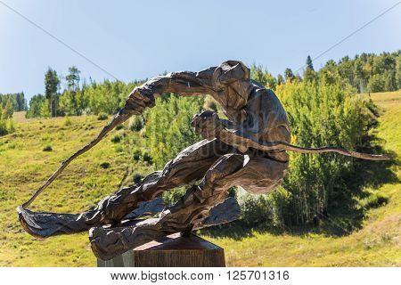 Vail, USA - September 10, 2015: Sculpture of ski racer