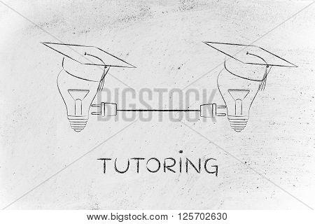 Lightbulbs With Graduation Cap With Plug, Tutoring