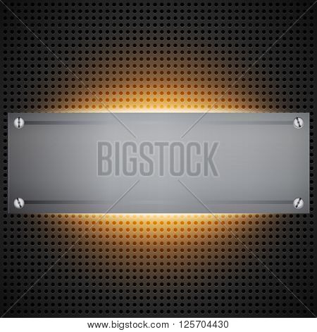 Perforated technological background with orange light behind brushed metal blank inset like a installed rack. Futuristic neon light modding cyber template. Vector illustration